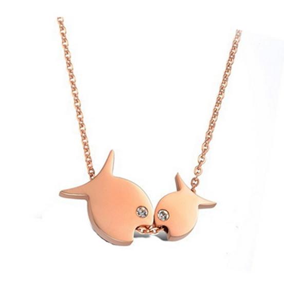 【米蘭精品】玫瑰金純銀項鍊 鑲鑽吊墜-可愛小魚情人節禮物時尚飾品71x22