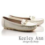 Keeley Ann經典美型~金屬鑰匙環扣OL全真皮平底莫卡辛鞋(白色735183340)