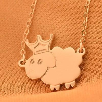 【米蘭精品】玫瑰金純銀項鍊吊墜-可愛生日禮物皇冠綿羊飾品71x92
