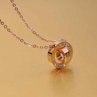 【米蘭精品】玫瑰金純銀項鍊 鑲鑽吊墜-雙環時尚情人節禮物精美飾品3色71x142
