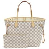 Louis Vuitton LV N41361 NEVERFULL MM 白棋盤格紋子母束口購物包.中 預購