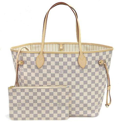 Louis Vuitton LV N41361 NEVERFULL MM 白棋盤格紋子母束口購物包.中_預購