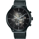 ALBA雅柏 ACTIVE 日系計時米蘭帶手錶-灰x鍍黑/44mm VD53-X271SD(AT3B77X1)