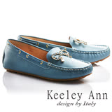Keeley Ann甜美氣息~金屬蝴蝶結飾釦OL全真皮平底莫卡辛鞋(藍色735223160)