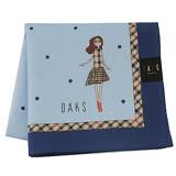 【DAKS】英倫圓點格紋邊框純綿帕領巾(藍色)