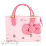 〔小禮堂〕Hello Kitty 2way造型皮質手提包《粉.菱格縫線.大臉.玫紅蝴蝶結》