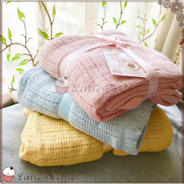 Cellular Blanket 洞洞毯/寶寶舒眠透氣毯 禮袋包裝 粉/藍/黃 100*140CM