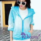 【Decoy】迷幻漸層*機能露指防曬連帽外套/藍白