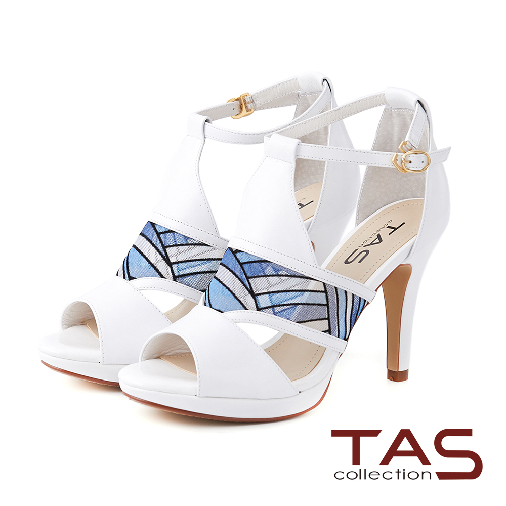 TAS 透膚感幾何網布鏤空羊皮高跟涼鞋-亮眼白