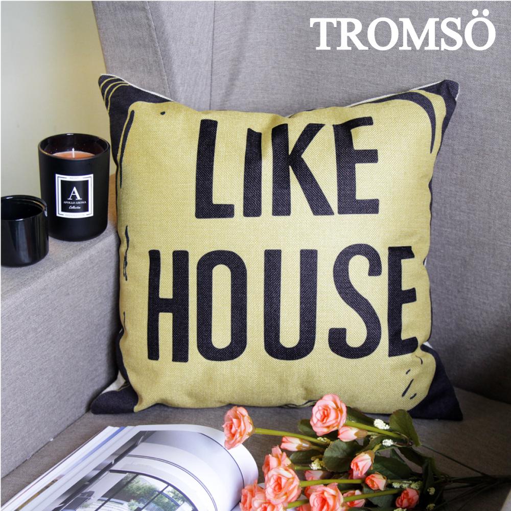 TROMSO-品味英倫棉麻抱枕U81黃黑小屋