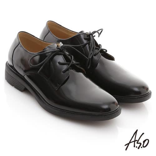 A.S.O 學生鞋系列 鏡面牛皮綁帶學生款皮鞋(黑)