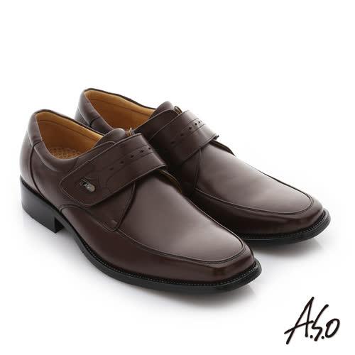 A.S.O 3E舒活寬楦 牛皮奈米魔鬼氈紳士皮鞋(咖啡)
