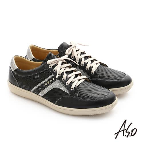 A.S.O 摔花牛軟皮綁帶奈米休閒鞋(黑)