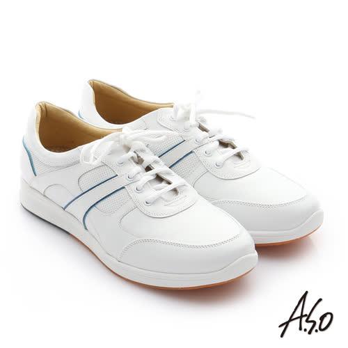 A.S.O 活力勁步 牛皮奈米綁帶雙色休閒鞋(白)