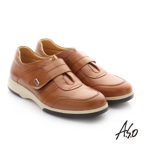 A.S.O 頂級氣墊增高寬楦 牛皮奈米魔鬼氈休閒鞋(茶)