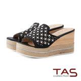 TAS 珍珠水鑽草編厚底楔型涼拖鞋-華麗黑