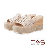 TAS 珍珠水鑽草編厚底楔型涼拖鞋-玫瑰金