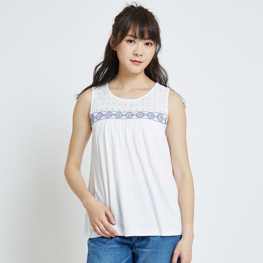 SOMETHING 蕾絲圖騰圓領無袖T恤-女-白色