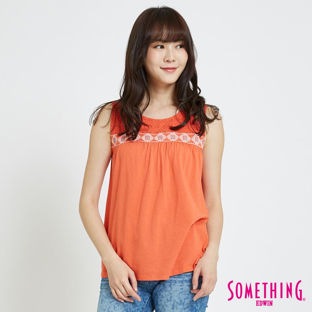 SOMETHING 蕾絲圖騰圓領無袖T恤-女-亮桔