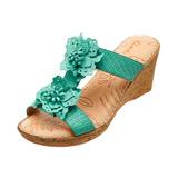 【Kimo德國手工氣墊鞋】洞洞雙花格紋楔型涼拖鞋(藍綠謎K14SF019146)