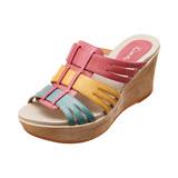 【Kimo德國手工氣墊鞋】混搭交叉設計氣質楔型涼拖鞋(珊瑚紅K14SF065017)