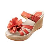 【Kimo德國手工氣墊鞋】單色花朵超輕楔型涼拖鞋(珊瑚紅K14SF065067)
