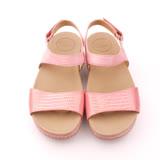 【Kimo德國手工氣墊鞋】韓版金屬感蛇紋厚底平底涼鞋-嫩粉紅(K15SF066107)