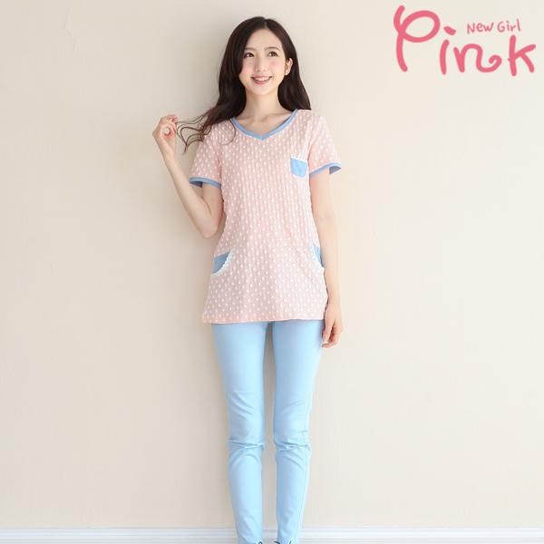 Pink* 點點布蕾絲口袋上衣 F4334AT