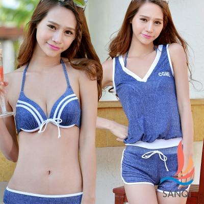【SANQI三奇】夏日甜美 四件式鋼圈比基尼泳衣(藍M~XL)