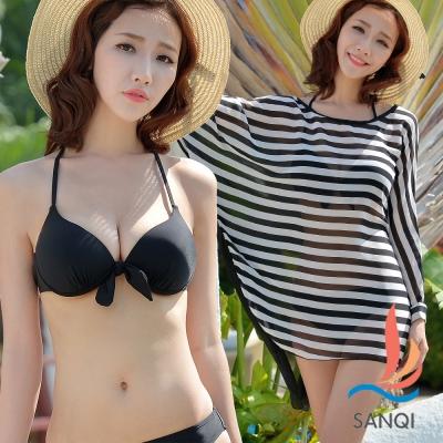 【SANQI三奇】活力休閒 三件式鋼圈比基尼泳衣(黑M~XL)