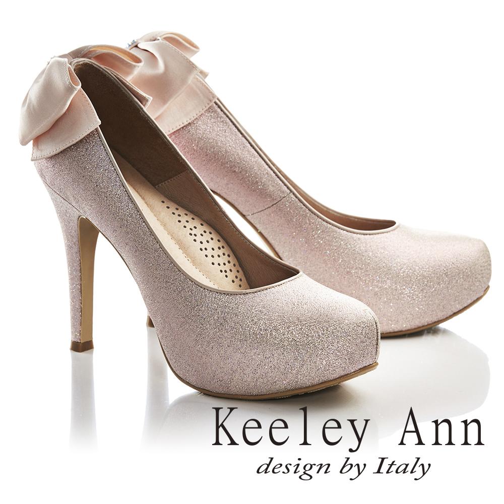 Keeley Ann浪漫滿分~後蝴蝶結真皮軟墊新娘高跟鞋(粉紅色735388356)