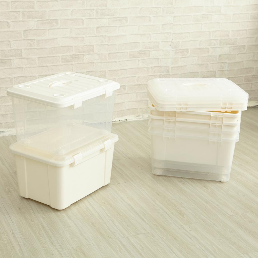 【ikloo】萬用滑輪收納整理箱45L(3入)