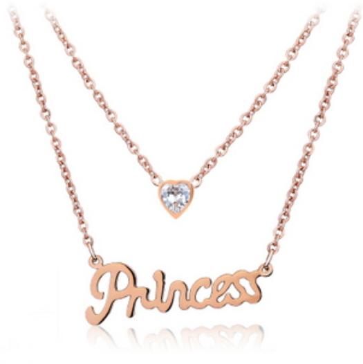 玫瑰金純銀項鍊 鑲鑽吊墜-英文字母時尚精緻情人節禮物飾品71x20【米蘭精品】