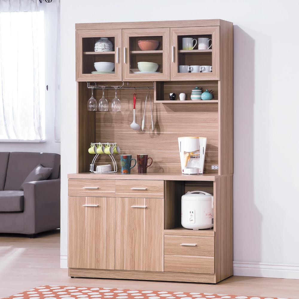 AS-蘭斯原木色4尺餐櫃-40.5x121x200cm