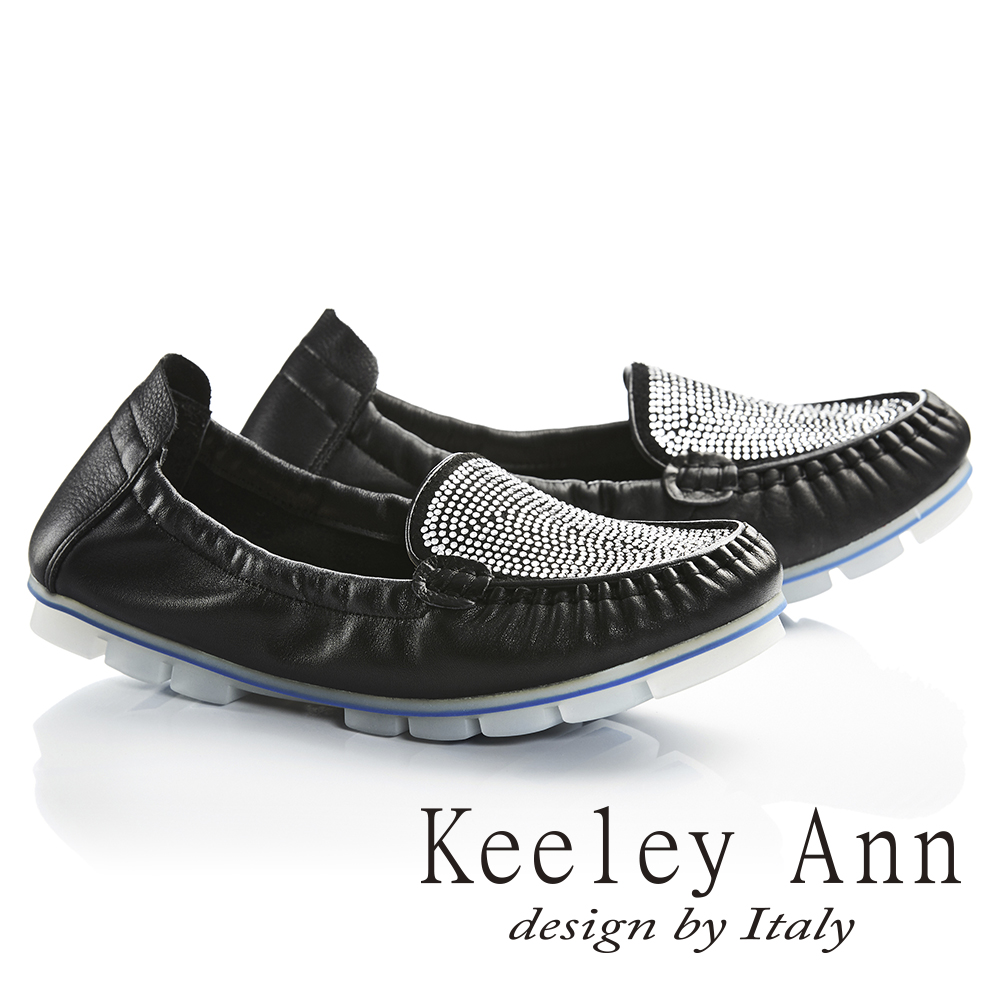 Keeley Ann舒適百搭~閃耀水鑽真皮平底莫卡辛鞋(黑色736073110)