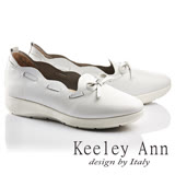 Keeley Ann甜美淑女~花滾邊蝴蝶結柔軟全真皮平底休閒鞋(白色736303140)