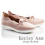 Keeley Ann甜美淑女~花滾邊蝴蝶結柔軟全真皮平底休閒鞋(粉紅色736303156)