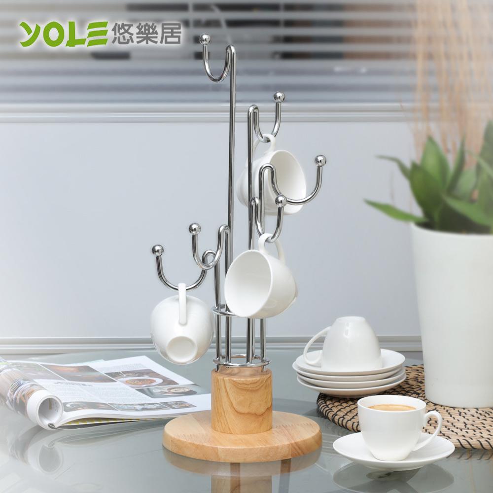 【YOLE悠樂居】簡約無印原木馬克杯架#1132046 茶水杯 咖啡杯 置物架 懸吊式 餐廚收納
