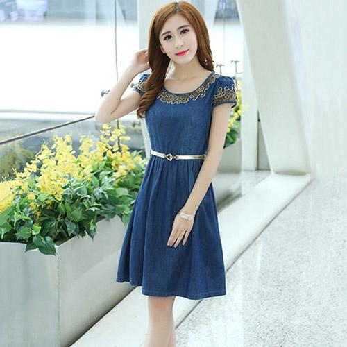 【最水】刺繡水洗牛仔洋裝 ( XL- 2L,藍色)