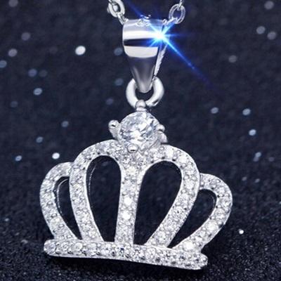 925純銀項鍊鑲鑽吊墜流行飾品-皇冠造型小巧精緻優雅流行母親節生日情人節禮物女配件73y38【米蘭精品】