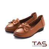 TAS 立體蝴蝶結尖頭娃娃鞋-焦糖棕