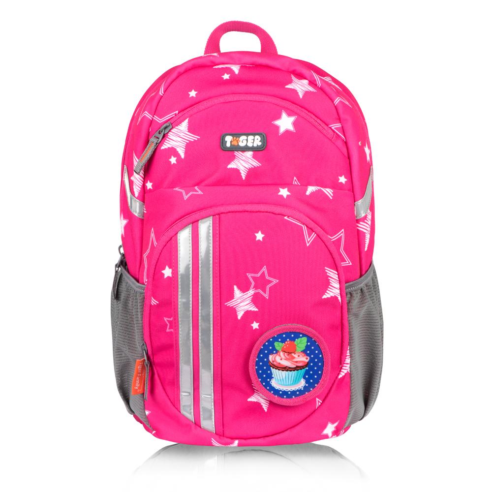TigerFamily躍動護脊休閒書包-粉紅星星
