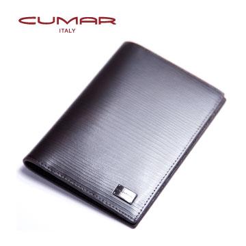 CUMAR 真皮木紋(義大利進口牛皮)-護照夾-深咖啡色