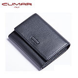 CUMAR 義大利小牛皮零錢/卡夾包(盒)-黑色-附拉鍊內袋