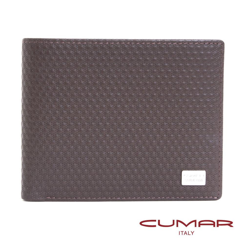 CUMAR 義大利牛皮-幾何壓紋-右上翻 短夾