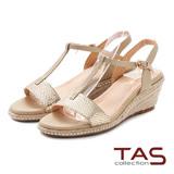 TAS 蛇紋T字繫帶麻繩楔型涼鞋-璀璨金