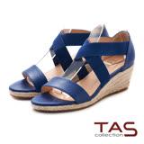 TAS 鬆緊交叉繫帶草編底台楔型涼鞋-深海藍
