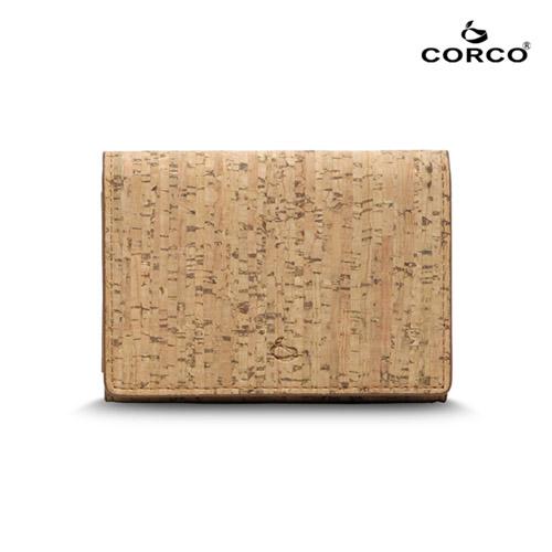 CORCO 雙摺軟木名片夾 ~ 原棕色