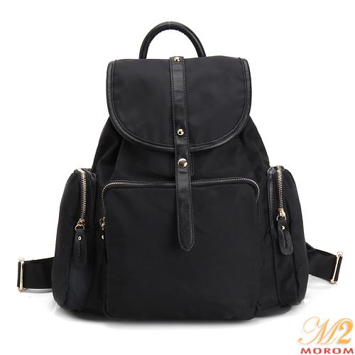MOROM  真皮質感MIX尼龍口袋後背包(黑色)A5006