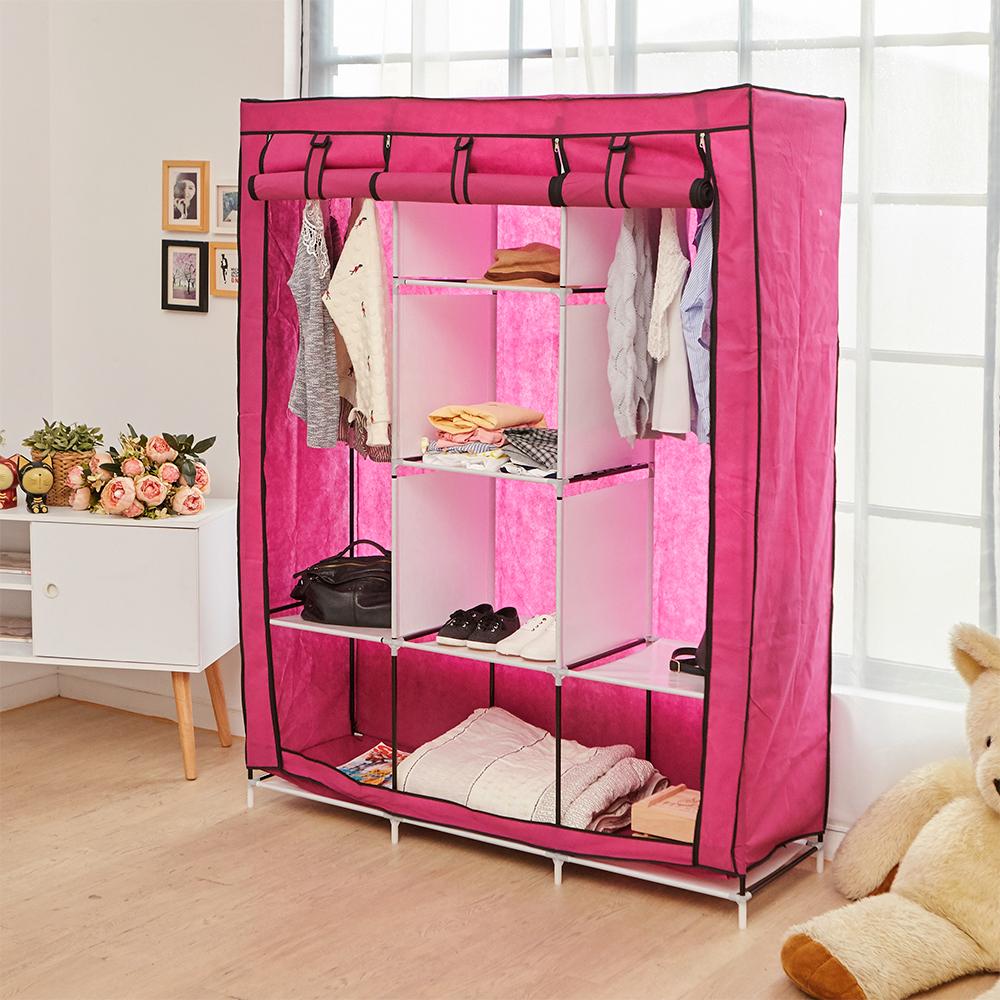 【ikloo】加大三排8格防塵收納衣櫃/組合衣櫃/衣架/防塵衣櫃(4入)